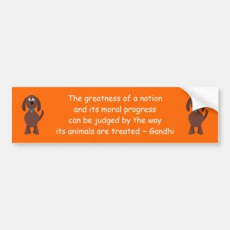Gandhi Animal Rights Quote Cartoon Dog Orange Bumper Sticker