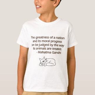 Gandhi Animals Quote with Cat T-Shirt