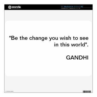 Gandhi 'Be the change' Macbook Air 11' cover MacBook Decal
