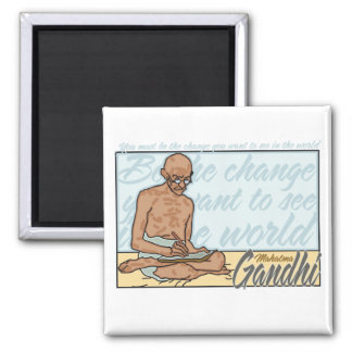 Gandhi Be The Change Quote 2 Inch Square Magnet
