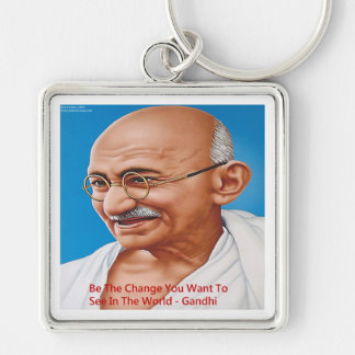 Gandhi & Be The Change Quote Keychain