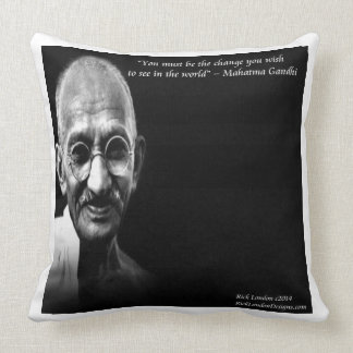Gandhi Be The Change Quote Large Cotton Pillow