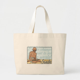 Gandhi Be The Change Quote Large Tote Bag
