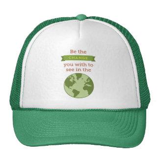 "Gandhi ""Be the Change..."" Quote Trucker Hat"