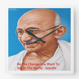 Gandhi & Be The Change Quote Wall Clock