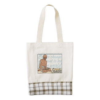 Gandhi Be The Change Quote Zazzle HEART Tote Bag
