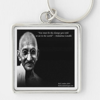 Gandhi Be The Change Wisdom Quote Keychain