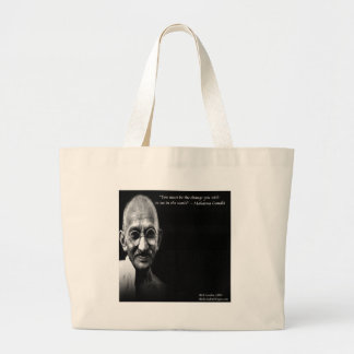Gandhi Be The Change Wisdom Quote Large Tote Bag