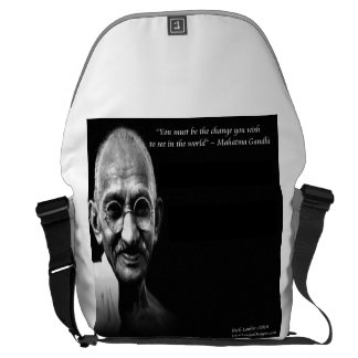 Gandhi Be The Change Wisdom Quote Messenger Bag