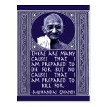 Gandhi en causas tarjetas postales