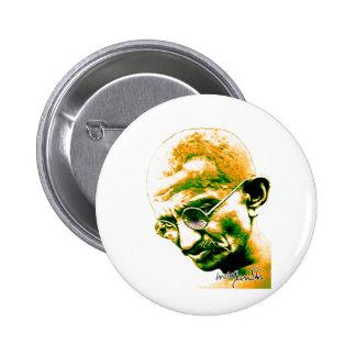 Gandhi en naranja verde y blanco pin