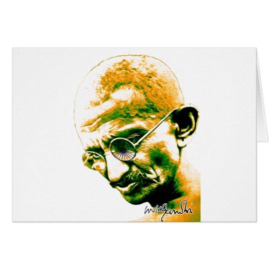 Gandhi en naranja, verde y blanco tarjeta de felicitación