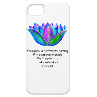 Gandhi Freedom Quote With Lotus Blossom Photo iPhone 5 Covers