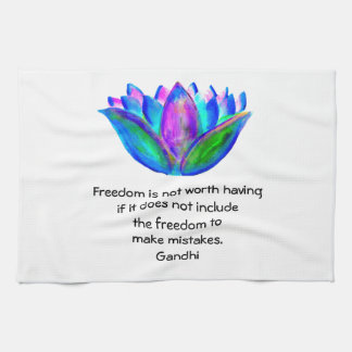 Gandhi Freedom Quote With Lotus Blossom Photo Hand Towel
