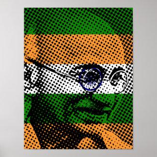 Gandhi + Indian Flag Custom Poster