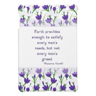 Gandhi Inspiration Quote w/ Spring Crocus Flowers iPad Mini Cover