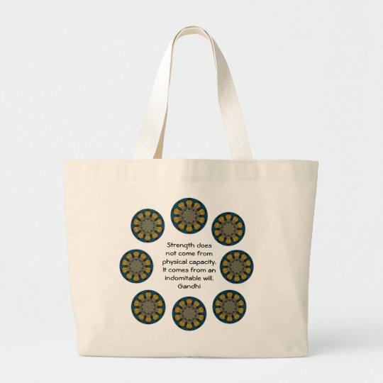 Gandhi Inspirational Motivational Quotation Large Tote Bag