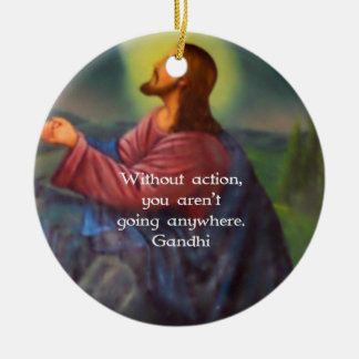 Gandhi Inspirational Quotation About Taking Action Double-Sided Ceramic Round Christmas Ornament