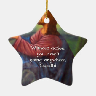 Gandhi Inspirational Quotation About Taking Action Double-Sided Star Ceramic Christmas Ornament