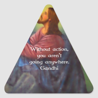 Gandhi Inspirational Quotation About Taking Action Triangle Sticker