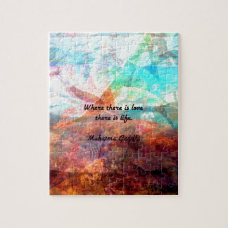 Gandhi Inspirational Quote about Love, Life & Hope Jigsaw Puzzle