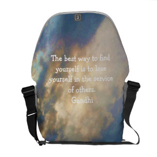 Gandhi Inspirational Quote About Self-Help Messenger Bags