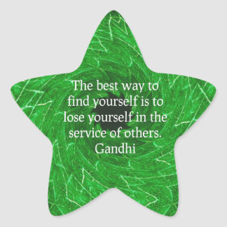 Gandhi Inspirational Quote About Self-Help Star Sticker