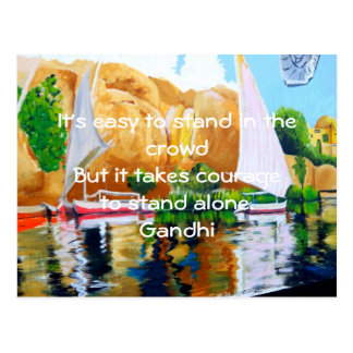 Gandhi Inspirational Quote Quotation About Courage Postcard