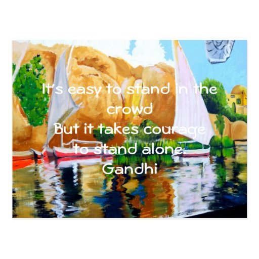 Gandhi Inspirational Quote Quotation About Courage Post Cards