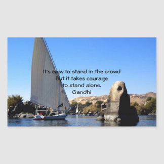 Gandhi Inspirational Quote Quotation About Courage Rectangular Sticker