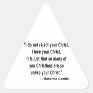 Gandhi on Christians Triangle Sticker