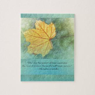 Gandhi Peace Leaf Quote Jigsaw Puzzle