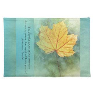 Gandhi Peace Leaf Quote Place Mats