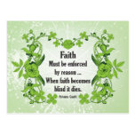 Gandhi Quote Faith... Must be enforced by reason Postcards