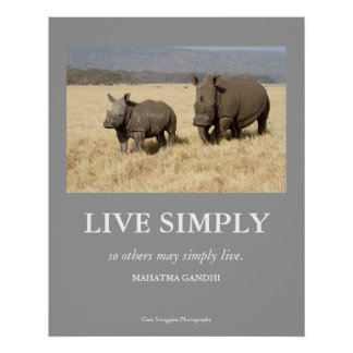 Gandhi Quote Live Simply Poster with White Rhinos