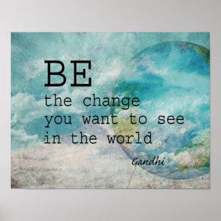 Gandhi quote motivational poster on blue photo art