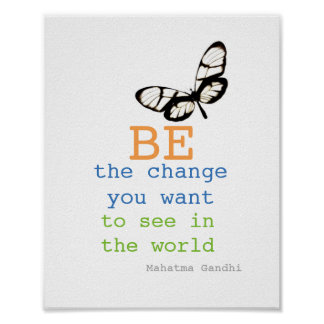 Gandhi quote poster be the change butterfly design