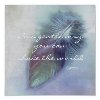 Gandhi quote poster motivational blue feather art