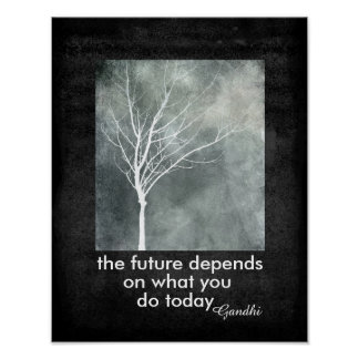 Gandhi quote poster motivational text nature art