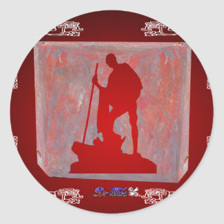 GANDHI RED CUSTOMIZABLE PRODUCTS ROUND STICKERS