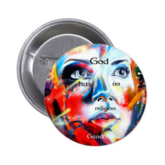 Gandhi Spiritual Quotation God Has No Religion Button
