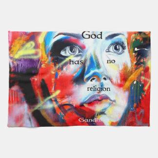 Gandhi Spiritual Quotation God Has No Religion Towel