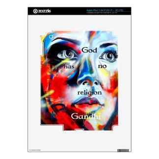 Gandhi Spiritual Quotation God Has No Religion Decal For iPad 3