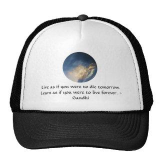 Gandhi Wisdom Quote With Blue Sky clouds Trucker Hat