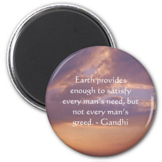 Gandhi Wisdom Quote With Brown Sky 2 Inch Round Magnet