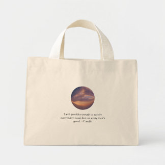 Gandhi Wisdom Quote With Brown Sky Mini Tote Bag
