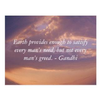Gandhi Wisdom Quote With Brown Sky Postcard