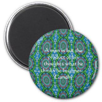Gandhi Wisdom Quote With Primitive Tribal Design 2 Inch Round Magnet