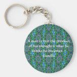 Gandhi Wisdom Quote With Primitive Tribal Design Basic Round Button Keychain