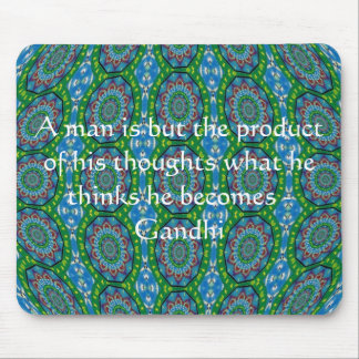 Gandhi Wisdom Quote With Primitive Tribal Design Mouse Pad